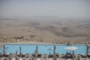 A pool overlooking the Ramon Crater at the Beresheet hotel in the Israeli Negev desert